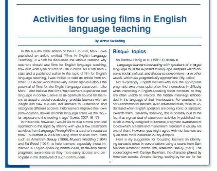 elt activity Vocabulary activities you are here 0 simon borg - teacher evaluation in elt 0 animal trafficking 0 blog topics for january and february 2018 courses.