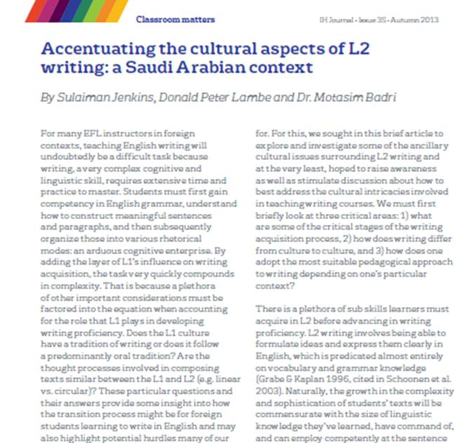 Accentuating the cultural aspects of L2 writing: a Saudi Arabian ...