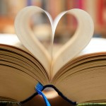book heart in library crop
