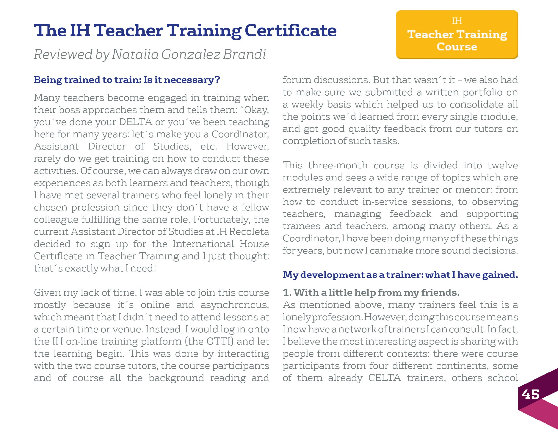 Review The Ih Teacher Training Certificate By Natalia Gonzalez